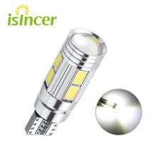 T10 10 SMD 5630 светодиодный проектор Объектив Автомобильные Габаритные фонари W5W 501 10SMD 5730 СВЕТОДИОДНЫЙ Автомобильный габаритный фонарь парковочная лампа Canbus без ошибок