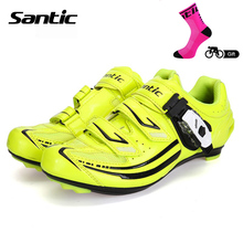 Santic 2018 Women's Cycling Shoes Green Zapatos Ciclismo Breathable Road Bicycle Shoes Waterproof Road Bike Riding Locking Shoes