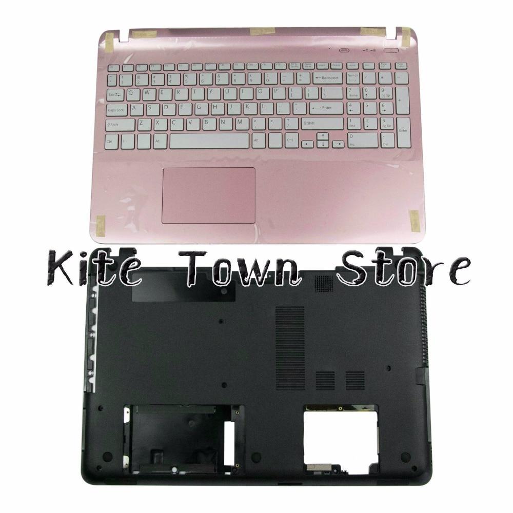 New US Keyboard Upper Palmrest NO Backlight 3NHK9BHN010 & Bottom Case For Sony Vaio SVF152 SVF153 Series new for sony vaio vpc sb vpcsb palmrest backlit english us laptop keyboard frame