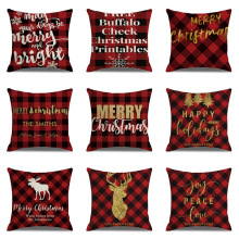 цена на Christmas Cushion Cover Red Plaid Golden Deer Print Linen Pillowcase Home Decor for Sofa Seat Bedroom Decorative Covers 45x45cm