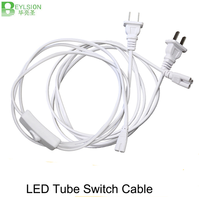 1X T5 T8 electrical wire connector EU plug with button switch 2pin ...