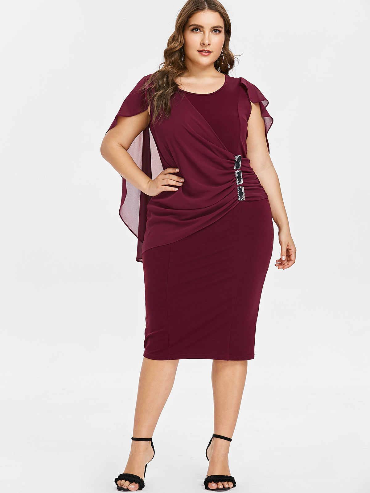 Wipalo Plus Size 5XL Capelet Knee Length Fitted Party Dress Women  Sleeveless Scoop Neck Sheath Dress c3daadcd54fe