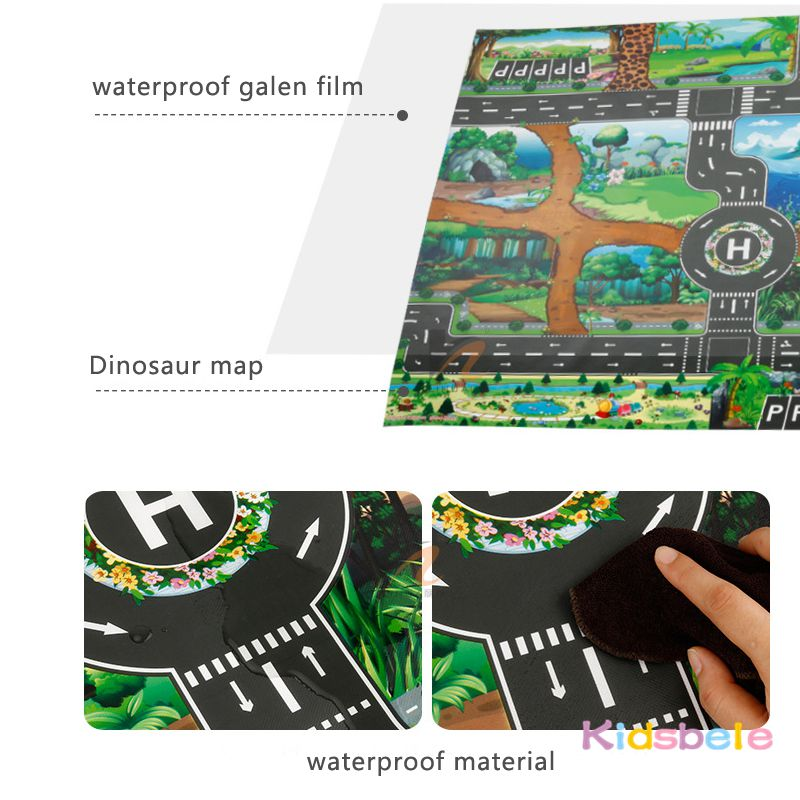Image 3 - Children Playing Mat Floor Game Baby Crawling Mat Pad 130*100CM Waterproof Kids Dinosaur City Car Parking Lot Traffic Boy Toys-in Floor Games from Toys & Hobbies