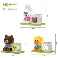 Cute HC Mini Blocks Cartoon Building Toy Brown Bear Model Can Be Pen Container Brinquedos Toys