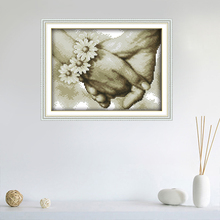11CT Cross-Stitch-Kit DMC Embroidery Home-Decoration Counted 14CT Hand-In Hand--3--Patterns