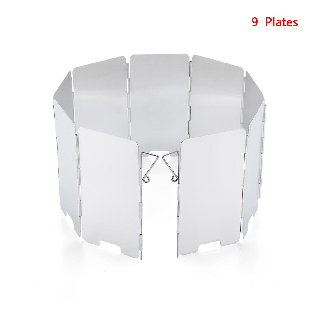 9 Plates Foldable Gas Stove Windshield Outdoor Camping Cooking Burner Windproof Screen Aluminium Alloy Outdoor Stove Wind Shield