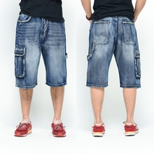 Neue 2016 Männer lose Jeans Hip Hop Skateboard kurze Jeans Herrenmode Hosen Größe 30-46 große Taschen