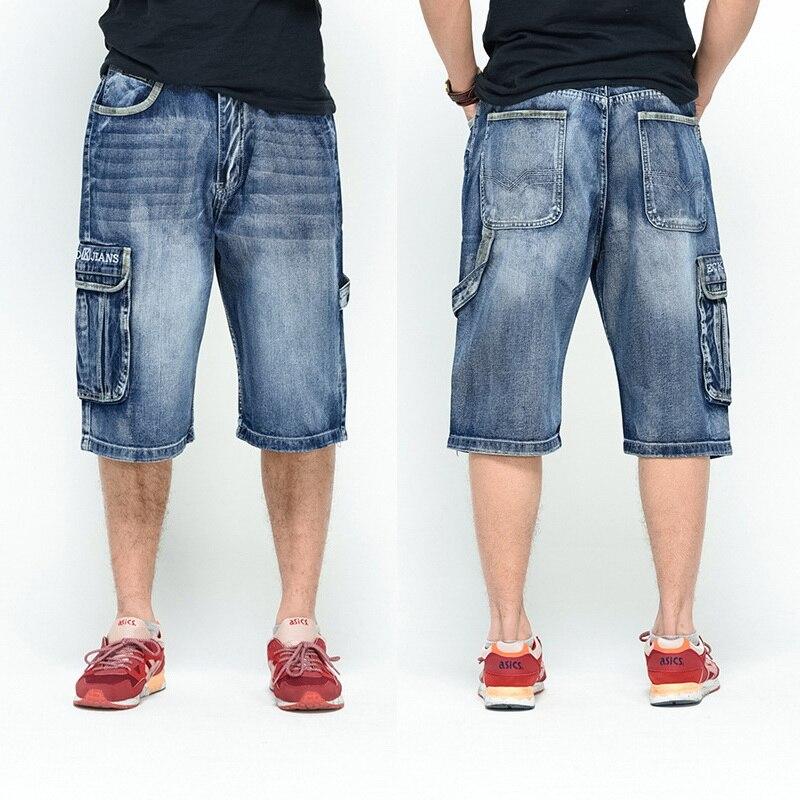 NEW 2019 Men Loose Jeans HIP HOP Skateboard short Jeans Men's Fashion trousers Size 30-46 Big pockets