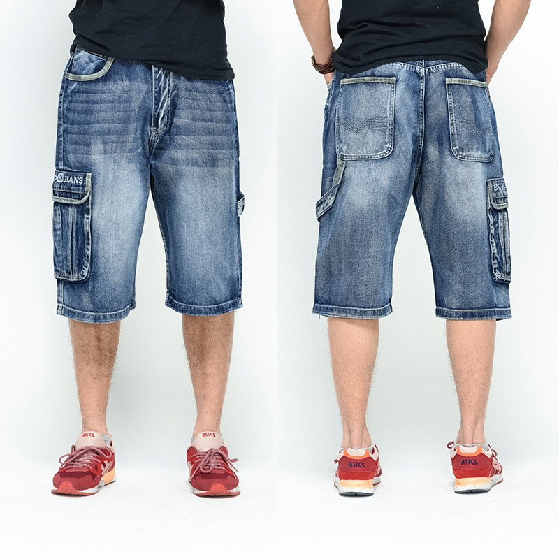 NEW 2020 Men Loose Jeans HIP HOP Skateboard Short Jeans Men's Fashion Trousers Size 30-46 Big Pockets