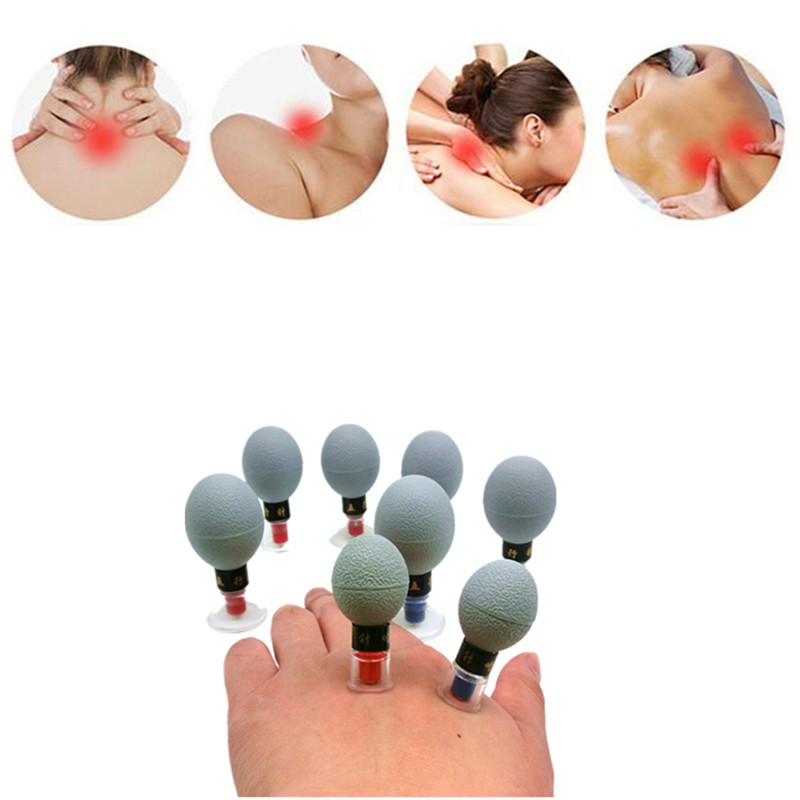 8pcs Haci Magnetic Therapy Acupressure Suction Cup household vacuum acupuncture and moxibustion cupping set Five Elements Needle