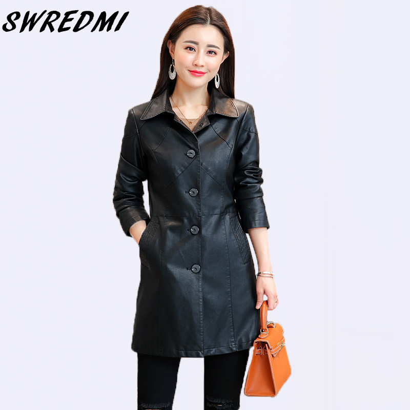 SWREDMI Spring And Autumn Women Long   Leather   Trench Turn-down Collar Feminino   Leather   Coat High Street Wear