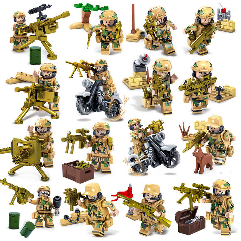 Military WW2 Soilder Figure Building Blocks Sets Guns City Police Tank Custom Toys Mini Compatible LegoINGlys Army Weapon Bricks