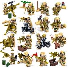 Military WW2 Soilder Figure Building Blocks Sets Guns City Police Tank Custom Toys Mini Compatible LegoINGlys Army Weapon Bricks
