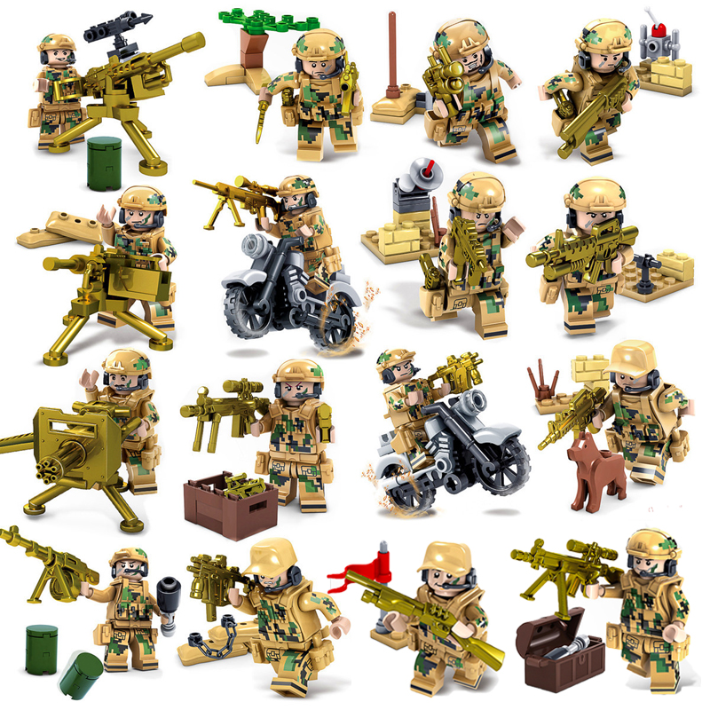 6pcs//set The Pacific War Military Navy Soldier Building Blocks Figures Toys