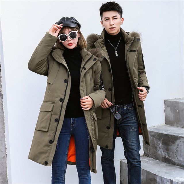 f495e914be8 Winter lovers 2018 new men's long down jacket Youth windproof jacket High  quality feather collar hooded snow coat park jacket