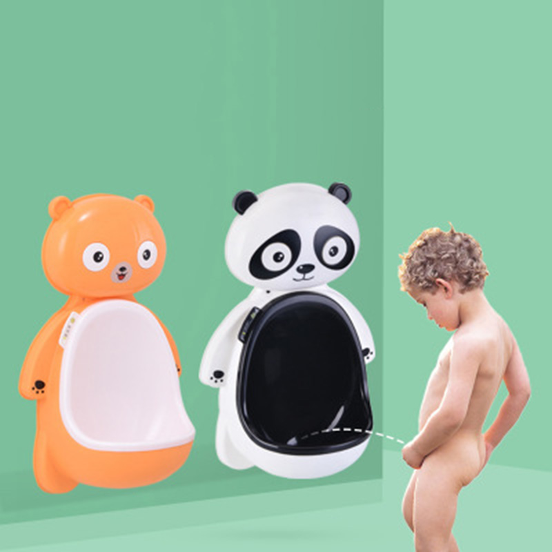 Baby Cartoon Hook Panda Baby Potty Training WC Child Boy Toilet Seat Portable Plastic Infants Potties Wall Mounted Urinal Child image