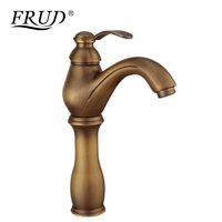 FRUD Heightening Basin Faucets Brass Bathroom Faucet Vintage Mixer Tap Single Handle Hot & Cold Washbasin Tap Banheiro Y10072