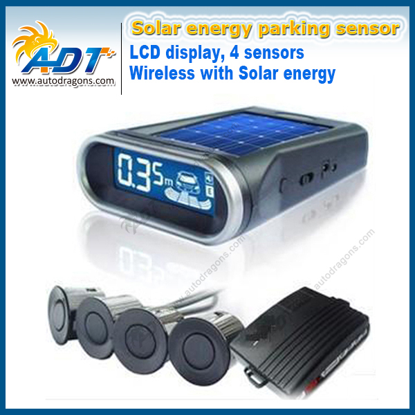 Auto Reversing Kit Parking Assist System Sun Energy Wireless With Solar Energy LCD Car Parking Sensor Kits & 4 Radar Sensor double cpu 4 car parking system kit sensors with led display