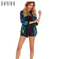 HYH HAOYIHUI Autumn Women Sequin Coat Green Bomber Jacket Long Sleeve Zipper Streetwear Jacket Preppy Loose