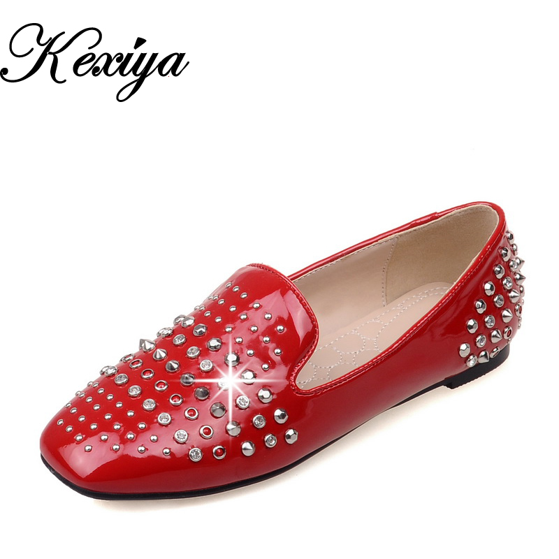 2016 Spring/Autumn Women flats Plus Size 32-48 solid PU Rivets decoration flat shoes fashion Slip-On loafers zapatos mujer flat shoes women pu leather women s loafers 2016 spring summer new ladies shoes flats womens mocassin plus size jan6