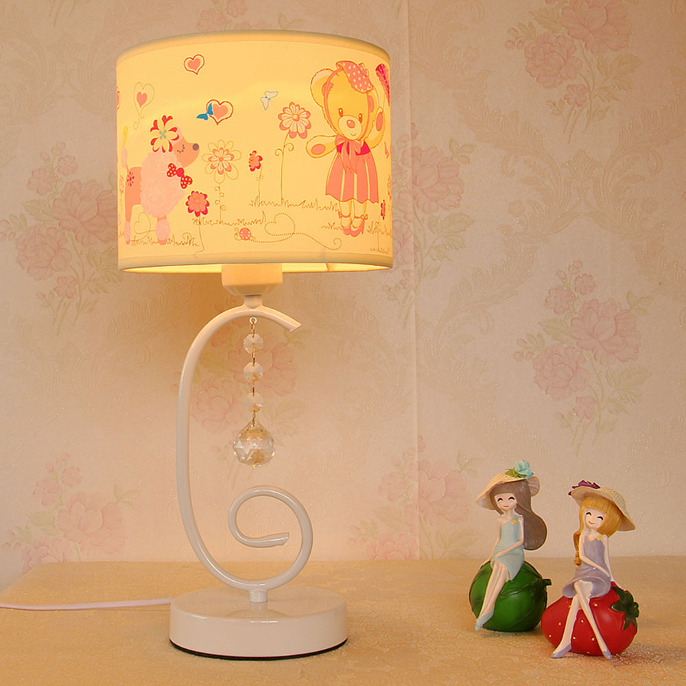 Bedside Table Lamp Luminaria Green Cloth Desk Lamps 110-220v  Contemporary  Bedroom Switch Button Cute Study Light