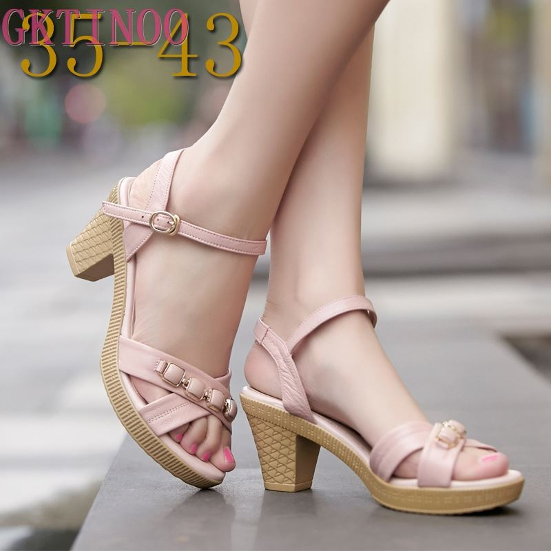 New Summer Women Sandals Shoes 2020 Thick With OL Korean Summer Sandals Large Size Genuine Leather Women Shoes Sandals