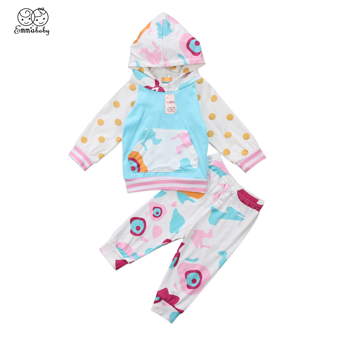 2018 New Autumn Fashion Toddler Kids Baby Boys Girls Dot Print Hooded Tops Colorful Pant ...