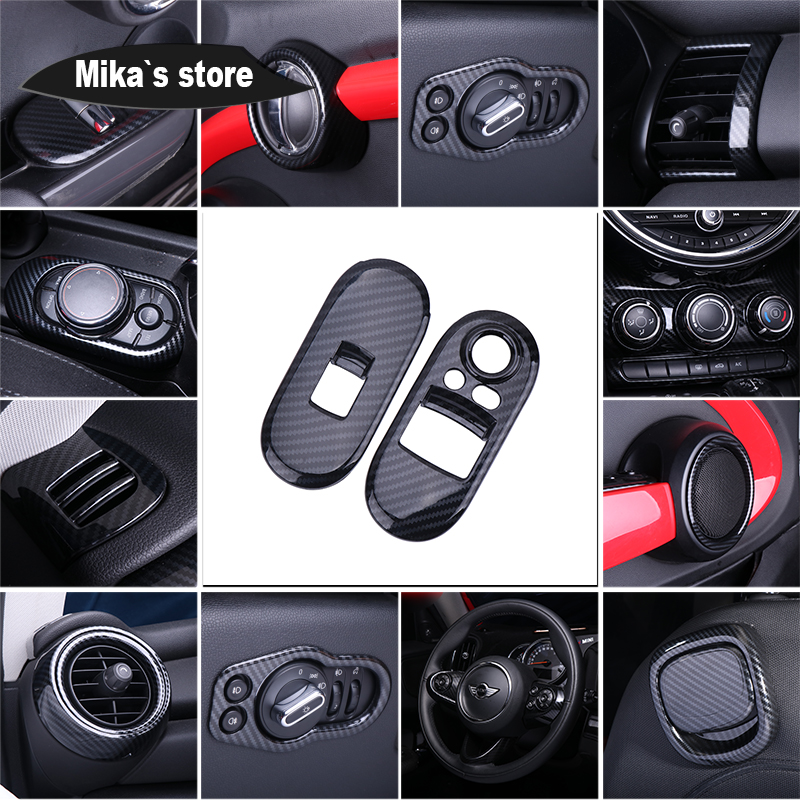 Auto Whole Internal Cover Decoration Carbon Fiber Grain Housing Case Window Handle Outlet Cover Sticker For Mini Cooper F55 F56