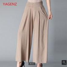 Pantalones de pierna ancha Pantalones mujer más tamaño verano algodón Lino  Pantalón ancho pantalones mujeres elástico 7bfcbffc82d4