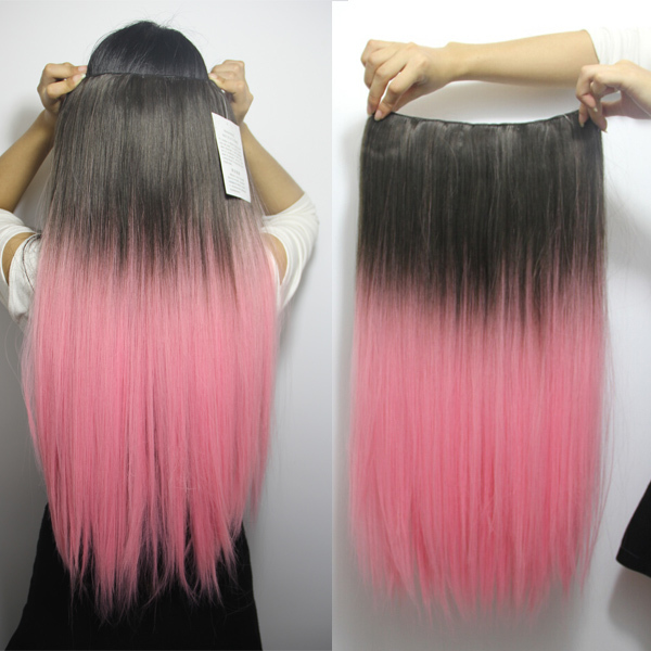 24 Long Straight Ombre Dip Dye Salon Synthetic Hair Piece Clip In