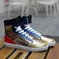 Sapatos casuais Sapatos de Couro Vermelho prata unisex High Top Sapatos Lace-Up Respirável Sapatos Formadores de Hip Hop Personalidade Amantes justin botas