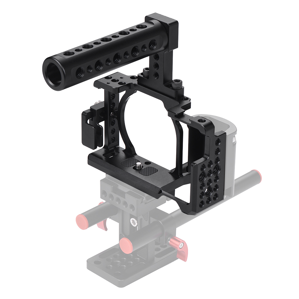 Andoer Protective Video Camera Cage Top Handle Kit with Cable Clamp for Sony A6000 A6300 A6500