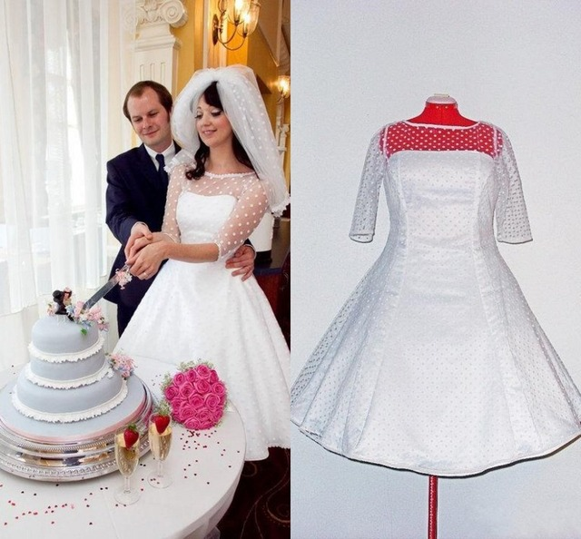 1950s Retro Polka Dotted Short Wedding Dress with Veil 2017 Knee ...