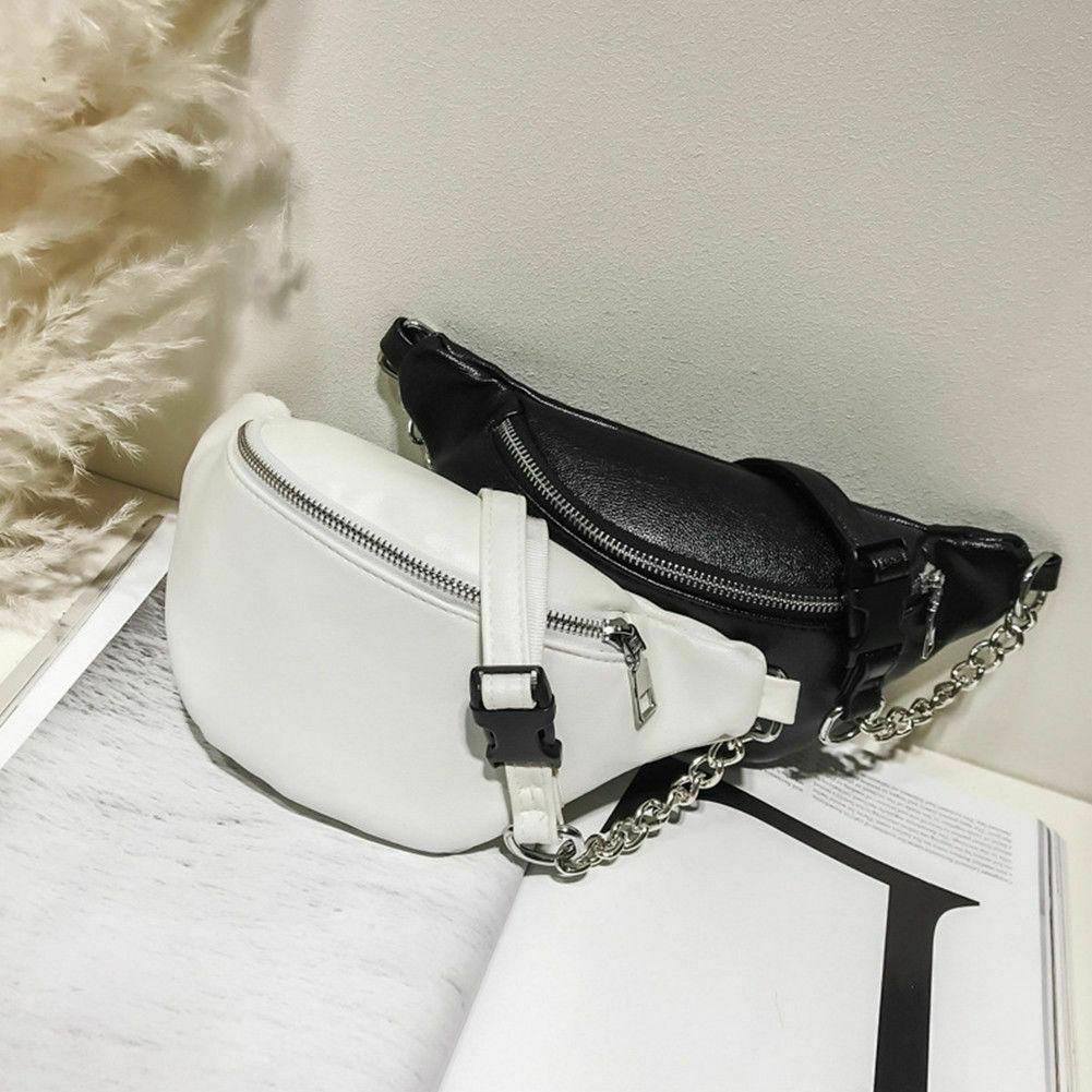 Womens Waist Bag Fanny Pack PU Bag Belt Purse Small Purse Phone Key Pouch Waist Pack Bicycle Belt Bag Chest Handbag Shoulder