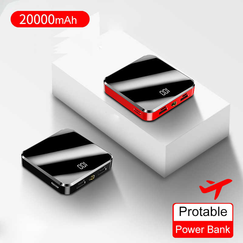 20000mAh Banco de Potência Portátil Mini Espelho Tela Digital Disply Poverbank Powerbank Bateria Externa Para Smart Mobile Phone