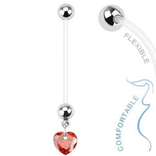 Heart Pregnancy Maternity Flexible Jeweled Belly Ring With Heart Star CZ Gem Charm Navel Ring Piercing Body Woman Summer Jewelry