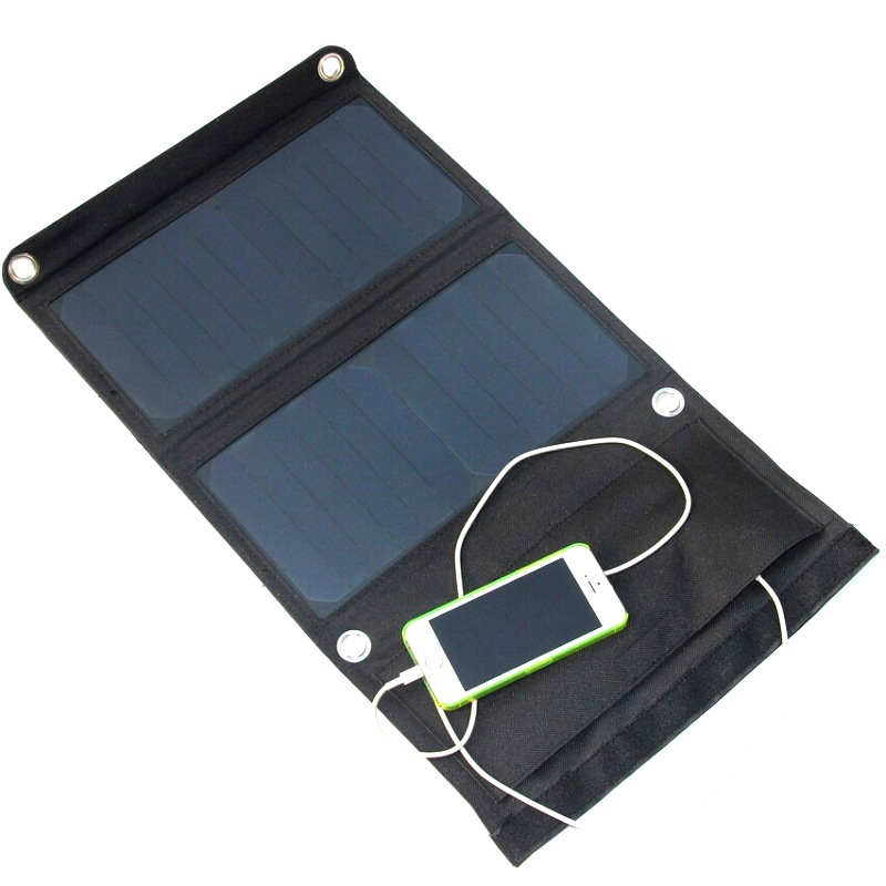 14W 2 5A Outdoor Solar Panel USB Output Portable Foldable Power Bank waterproof travel Solar Portable