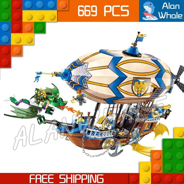 669pcs The War Human VS Elves Goblin Zeppelin Flying Dragon Archer Model Building Blocks Kit Game Toy Brick Compatible with lego ynynoo bela 10501 233pcs princess friend elves elvendale school of dragons model building kits blocks brick with 41173