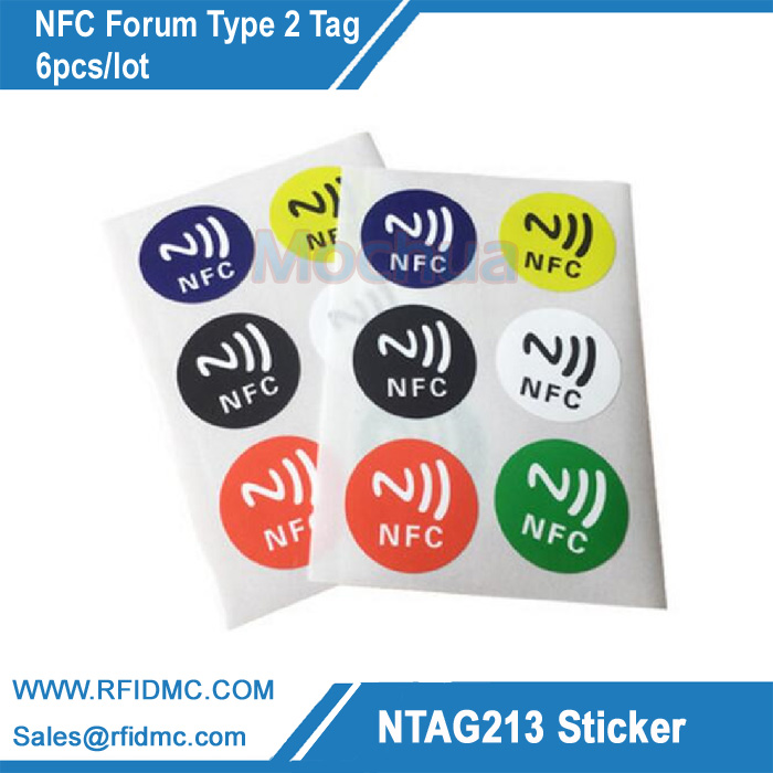 Autocollants NFC étiquette universelle Ntag213 pour tous les phones-6pcs/lot compatibles NFC