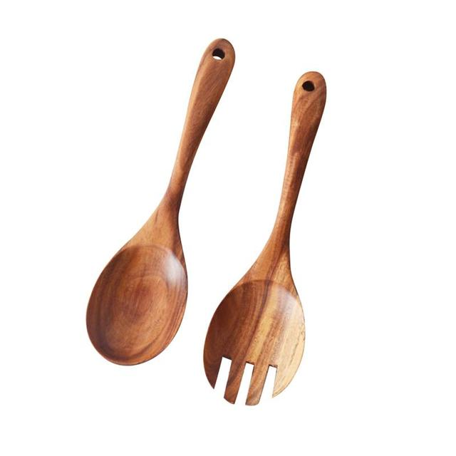 Kitchen Wooden Utensils Lowes Cabinet Refacing Natural Spoon Salad Dinner Serving Spoons Server Wood Fork Cutlery Set