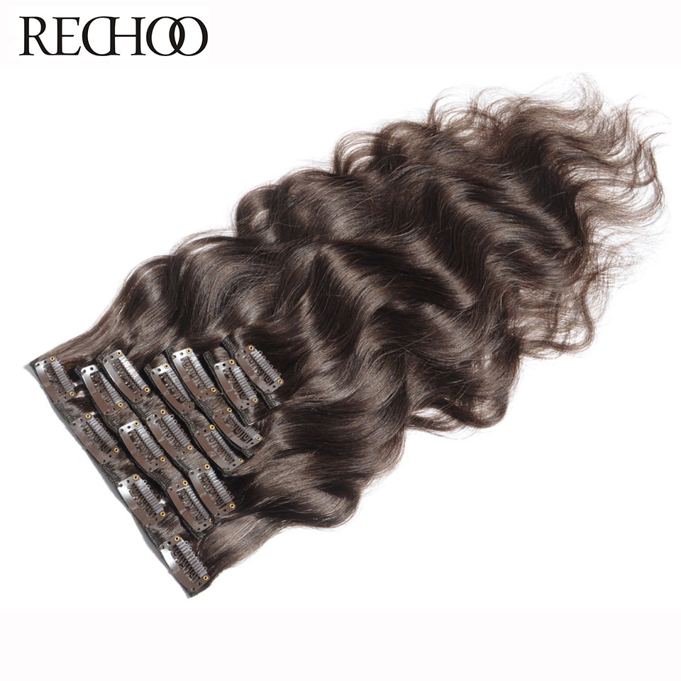Rechoo Machine Made Remy Brazilian Clip In Hair Extensions Ciało Fala Ludzkie Włosy Pełny Head Set 100g / set # 4 Color with Hair Clip