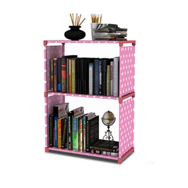 Bibliothèque minimaliste moderne créative décoration de la maison assemblage 2 grilles en acier inoxydable livre étagère salon meubles de rangement