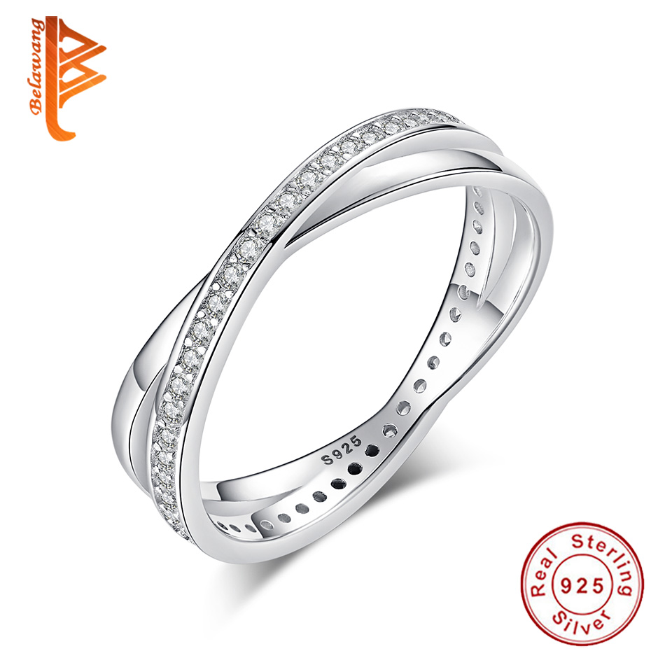BELAWANG Genuine 100% 925 Sterling Silver Twist Ribbon Finger Ring with Sparkling CZ Women Wedding Engagement Jewelry Making