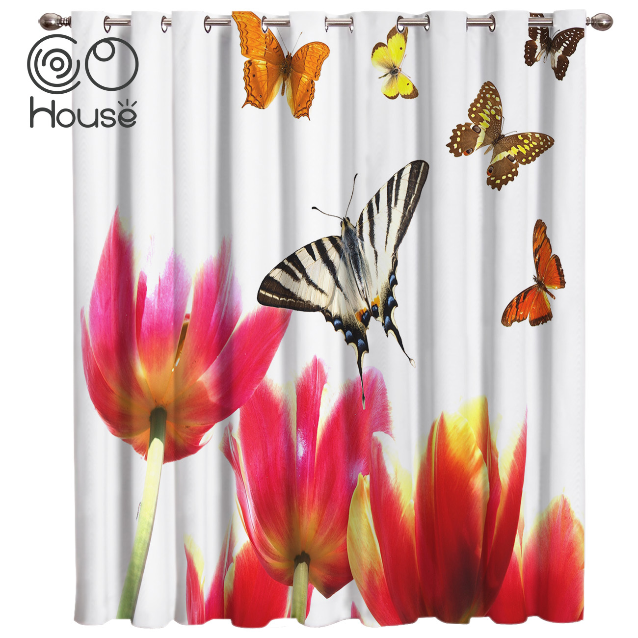 Insects Butterflies And Flowers Curtains Bathroom Outdoor Decor Kids Curtain Panels With Grommets Window Treatment