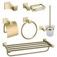 Premium Luxury Wall Mount Bathroom Hardware Accessories Set Golden Robe Hook Paper Holder Toilet Brusher Holder Towel Rings