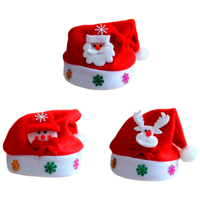 2017 Winter Children Christmas Flannel Hat Santa Reindeer Snowman Xmas Party Cap Hot Boys and Girls Fashion Red Cute Lovely Caps fashion handpainted palm sea sailing pattern hot summer jazz hat for boys