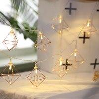Conto de fadas Luzes Da Corda Da Bateria led Luminaria 20 Retro Geométrica Rhombus Decoração navidad levou Cadeia Lâmpada Guirlanda de Natal Pátio|Fios de iluminação| |  -