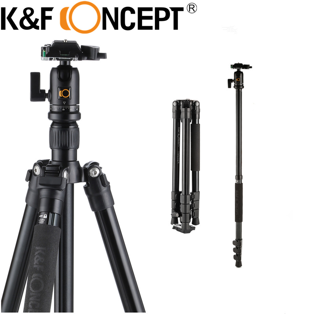K F CONCEPT Lightweight Portable Professional Travel Tripod Monopod Aluminum Ball Head for Digital DSLR Camera
