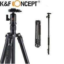 K&F CONCEPT Lightweight Portable Professional Travel Tripod Monopod Aluminum Ball Head for Digital DSLR Camera 4 Section Stand