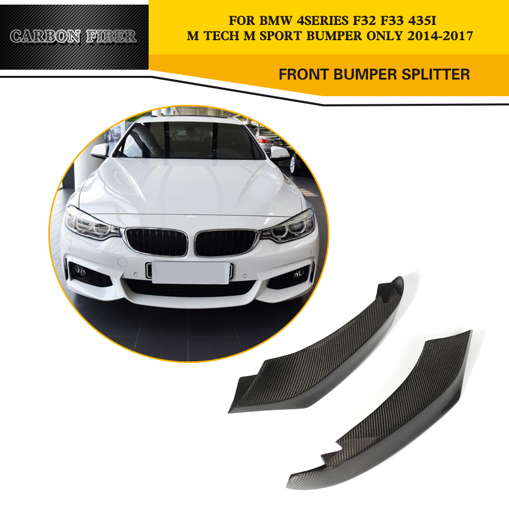 Carbon Fiber Racing Front Splitter Cupwing lips for BMW 4 Series F32 F33 435i M Sport Coupe & Convertible 2-Door 2014-2016 carbon fiber auto front lip splitter flags for bmw 4 series f32 f33 435i m sport coupe & convertible 2 door 2014 2016